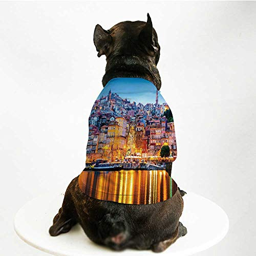 (YOLIYANA European Stylish Pet Suit,Medieval Town Coast Portuguese Porto Old City Historical Twilight Scenery Decorative for Small Medium Big Dogs,S)