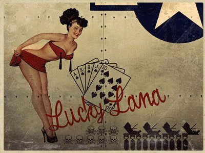 Lucky Lana Airplane Nose Art Metal Sign, Pinup, WW II Bomber Poster