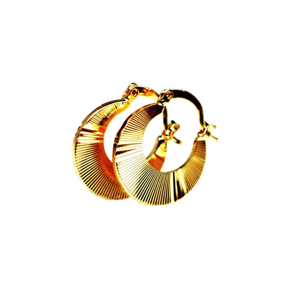 1.0 Inch Sparkling Sunburst Textured Flat Diamond Cut Design Brazilian Yellow Gold Tone Huggie Hoop Earrings, Hinge with Notched Post Clasps