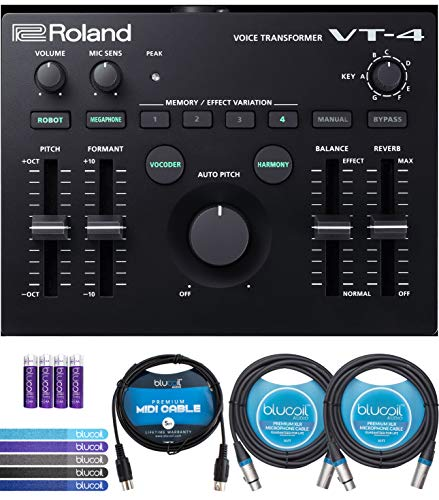Roland VT-4 Voice Transformer Vocal Effects Processor Bundle with Blucoil 5-Ft MIDI Cable, 10-Ft Balanced XLR Cables (2-Pack), Cable Ties (5-Pack) and AA Batteries (4-Pack) (Alesis Audio Mixer)