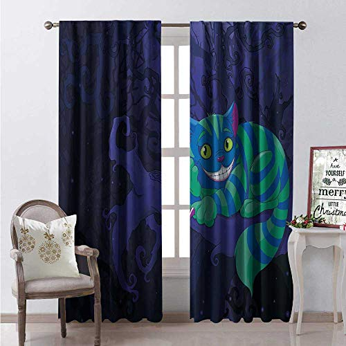 Hengshu Alice in Wonderland Window Curtain Drape Chester Cat Sitting on Branch Fairytale Forest Character Customized Curtains W108 x L108 Green Blue Purple]()