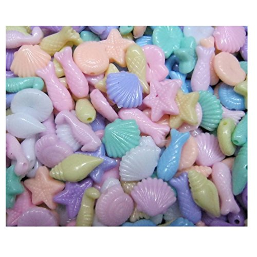 Lot of 150pcs Acrylic Sea Creatures Beads 11 to 15 mm Assorted Candy Color Mix Plastic Pastel Beads Bracelet Kawaii Rainbow Necklace Jewelry Making Craft Kits Kids diy (Candy Beads Bracelet)