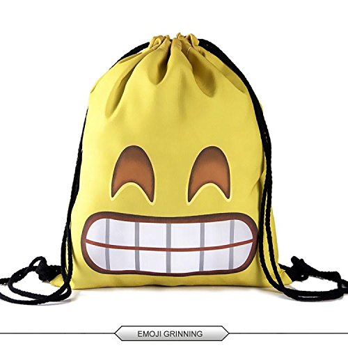 HELLATHUND 3D Emoji Characters Series Light Drawstring Bags Friday Printed Unisex Backpacks for Kids(12″(w) 15.5″(h)) (Emoji Grinning) For Sale