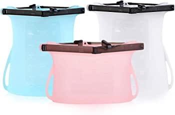 3-Pack RegeMoudal Innovative Leak Proof Reusable Food Storage Bag