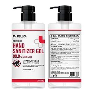 [Pack of 2] [Dr.BELLCA] Premium Hand Sanitizer Gel, Citrus Scent [Ethanol 70%], 500 ml (16.9 fl.oz) – Kills 99.9% of…