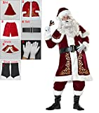 Elfjoy Adult Santa Claus Christmas Suit Costume Set 7Pcs(or 11Pcs) For Party Cosplay (X-Large)