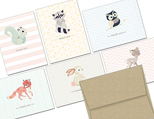 Woodland Animals Thank You - 36 Thank You Cards - 6 Designs - Blank Cards - Kraft Envelopes Included -