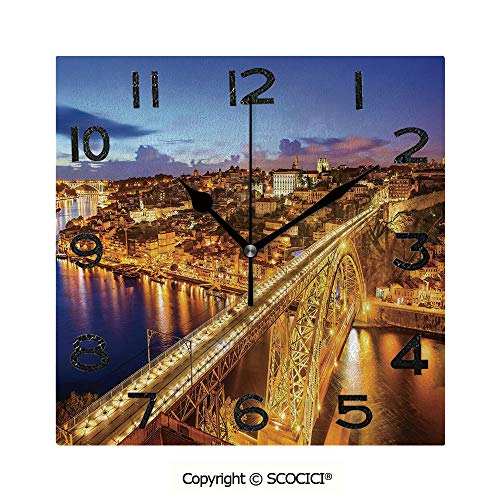 SCOCICI 8 inch Square Clock Porto Dom Luis Bridge at Night River Portuguese Coast Mediterranean View Decorative Unique Wall Clock-for Living Room, Bedroom or Kitchen Use