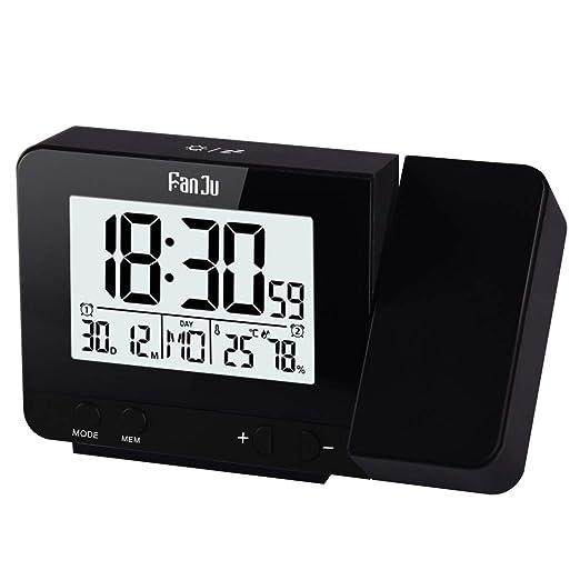POKL Proyección Temperatura Digital Humedad Reloj Despertador USB ...