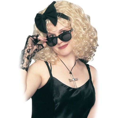 80s Pop Star Blonde Wig with Bow
