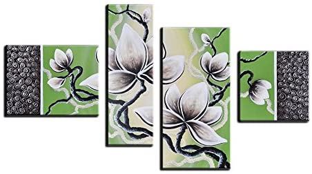 Noah Art-Contemporary Floral Artwork, White Tulip Pictures of Flowers 100 Hand Painted Modern Flower Oil Paintings on Canvas, 4 Panel Framed Green Flower Wall Art for Bedroom Home Decor