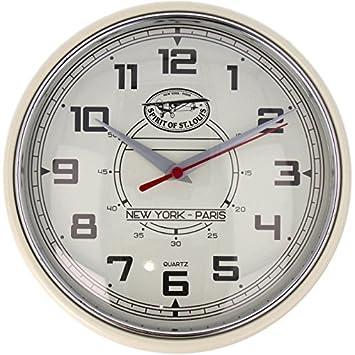 Spirit of St. Louis Wanduhr, Quarz, Vintage Style Beige Ø 24cm Uhr ...