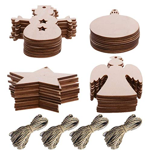 TUANTUAN 40 Pcs Blank Christmas Ornaments Unfinished Wood Hanging Tags with Holes for Kids Crafts Christmas Tree Decoration