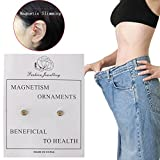 OHTOP 1Pair Weight Loss Healthy Stimulating Acupoints Stud Magnetic Therapy Earrings(Gold,with hole)