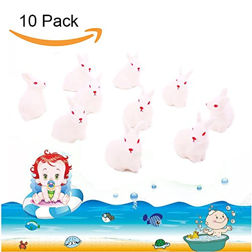 Rabbit Mini Toy (LovesTown Rubber White Rabbit Tub Toy Baby Bath Toy Baby Shower Birthday Party Favors 10Pcs)