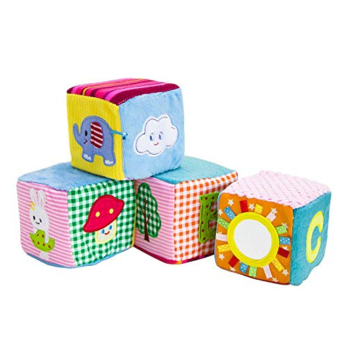 Soft Baby Blocks,Infant Early Education Toys with Pictures and Number Velvet Cloth Foam Grab and Stack Building Blocks with Build-in Bell Baby Toy for Newborns and Over