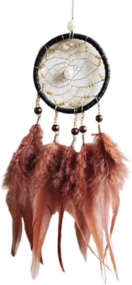 Profusion circle Christmas Hanging Dream Catcher Faux Feathers Beads Hanging Pendant Wind Chime Gift Car Home Wall Decor Apricot