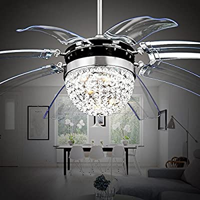 Akronfire Crystal Ceiling Fan Remote Control Modern Take Off Invisible Fan Lights for Decorate Living Room Dining Room with Led Chandelier 42 Inch Silver