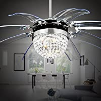 Akronfire Crystal Ceiling Fan Remote Control Modern Take Off Invisible Fan Lights for Decorating Living Room Dining Room with Led Chandelier 42 Inch Silver