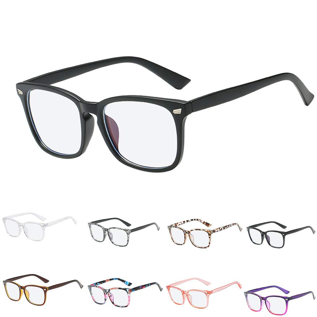 Fiaya Anti Blue Ray Glasses Computer Glasses Blue Light Blocking Glasses Square Nerd Eyeglasses Frame (Color G)