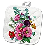 3dRose Vintage Style Floral - Image of Vintage Style Pink Purple and Red Hollyhocks - 8x8 Potholder (phl_279872_1)