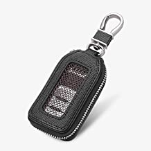 Car KeyChain Cover Premium Leather Key Chain Coin Holder Keyring Hook Wallet Zipper Case Remote Smart Key Fob Alarm Security (Black)