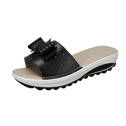 92e7a9980abb Women s Slippers Breathable Casual Flats Thick Bottom Beach Shoes (Black