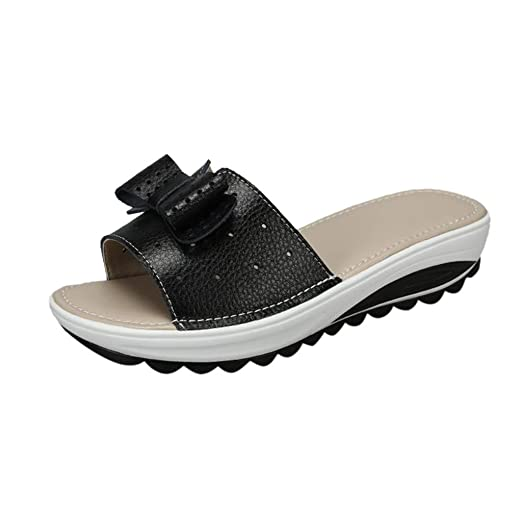 391d6299d65a Kasien Summer Women s Slippers Breathable Casual Flats Fashion Thick Bottom Beach  Shoe (Black