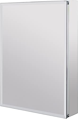 Utopia Alley Aluminum Medicine Cabinet with Glass Shelves, Single Door, 24 L x 30 H