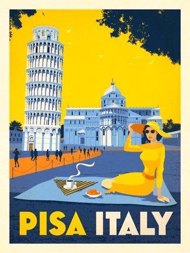 American Vinyl Vintage Art PISA Italy Sticker (Leaning Tower Visit Travel)