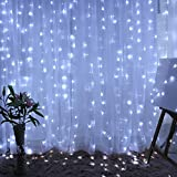 (Lights Only), Yeefant Safe Low Voltage 300 Pcs Led Waterproof Curtain Fairy Lights for Indoor Outdoor Christmas Tree Festival Wedding Party Garden Wall Patio Backyard Home Decor,9.8x9.8 ft, White