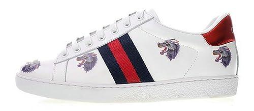 Gucci Ace Embroidered Low Top Wolf White Blanco Cuero Zapatillas Hombre  Mujer  Amazon.es  Zapatos y complementos 019b895e7c0