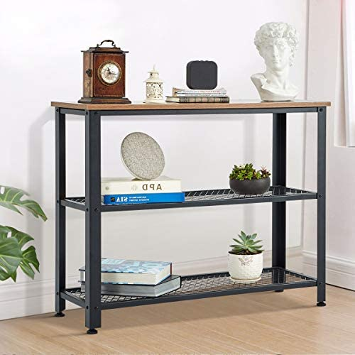 YOLENY Console Table,3 Layer Wooden Entryway Storage Table,Sofa Table with Metal Frame, for Living Room,Hallway