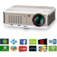 Portable Android WiFi Video Projector Home Cinema 2600 Lumen Support 1080P 720P Airplay Wireless LED LCD Projector,Built-in Speaker Keystone for PC Laptop Video DVD Smartphone