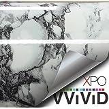 Black White Veined Marble Gloss Vinyl Architectural Wrap for Home Office Furniture Wallpaper Tile Sheet 24