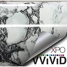 """Black White Veined Marble Gloss Vinyl Architectural Wrap for Home Office Furniture Wallpaper Tile Sheet 6.5ft x 12"""" Roll (6.5ft x 12"""" 1 roll)"""
