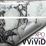 Black White Veined Marble Gloss Vinyl Architectural Wrap for Home Office Furniture Wallpaper Tile Sheet Roll (48'' x 10ft Large Roll)