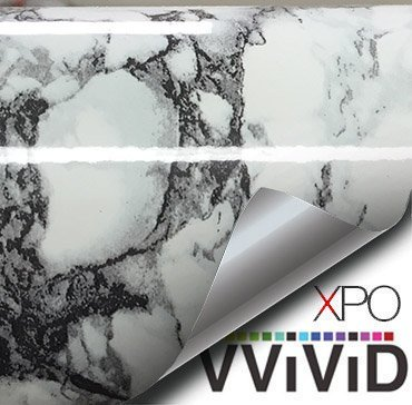 """Black White Veined Marble Gloss Vinyl Architectural Wrap for Home Office Furniture Wallpaper Tile Sheet 6.5ft x 15.9"""" Roll - 2-roll pack"""