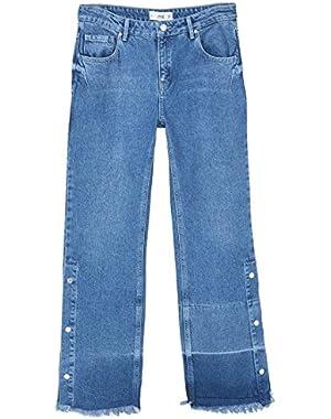 Mango Women's Flare Snaps Jeans