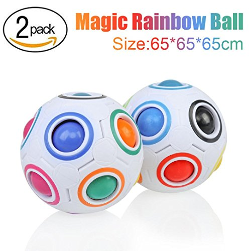 Lobster Pot Adult Costumes (Letong 6.56.56.5cm 2PCS Fun Cube Fidget Stress Reliever Magic Rainbow Ball Puzzle Education Toy For Kids/Adults (White))