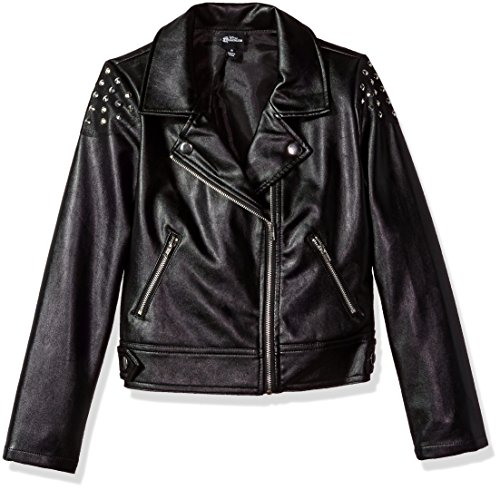 (Disney Girls' Big Descendants Studded Moto Jacket, Black XS)