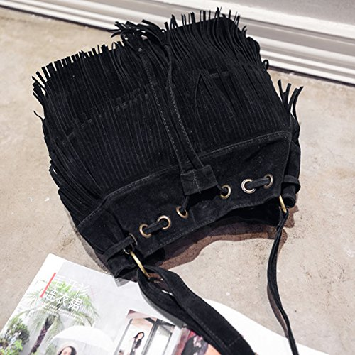 black Cross Brown Fringe Brown Khaki Shoulder body Faux Womens Shoulder Tassels Bag Black Bag Suede Bag Bucket HYYZSW4a