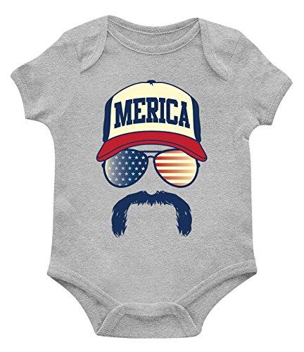 SpiritForged Apparel Merica Hat Glasses & Mustache Infant Bodysuit, Light Gray 18 Months]()