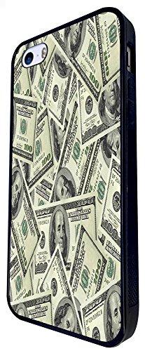 970 - Cool Fun 100Usd Notes Collage Design iphone SE - 2016 Coque Fashion Trend Case Coque Protection Cover plastique et métal - Noir
