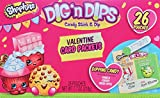 Shopkins Valentine Card Packets Dig'N Dips Candy Stick & Dip 26 Valentine Pouches