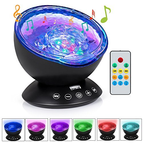 Cynkie Ocean Wave Night Light Projector 12 LED & 7 Colors Kids Night Light with Built-in Mini Music Player and Remote Control for Living Room Bedroom by Cynkie