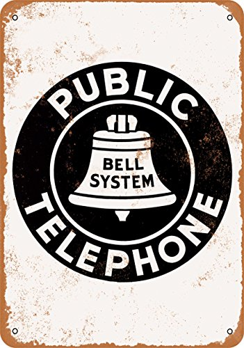 Wall-Color 7 x 10 Metal Sign - Bell System Public Telephone - Vintage Look Reproduction