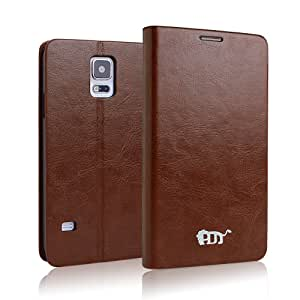 Pdncase Galaxy S5 Cover Premium Leather Carrying Case Book Type Compatible for Samsung Galaxy S5 (Brown)