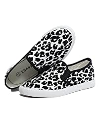 LOVEBEAUTY Women's Leopard Print Slip-On Loafer Shoes Canvas Sneakers