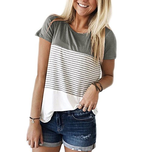 Best-selling Yidarton Women Summer -Neck Short Sleeve Colorful Striped -Shirt Blouse Tops (1Gray, -Large)